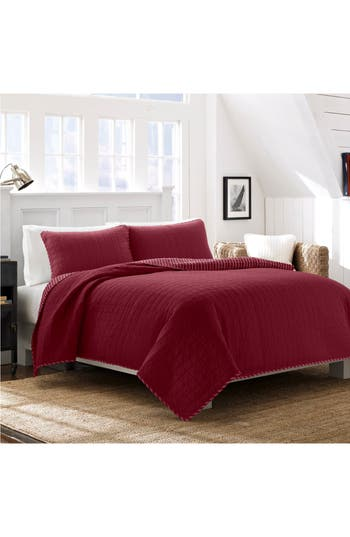 Nautica Maywood Quilt & Sham Set, Size Twin - Red