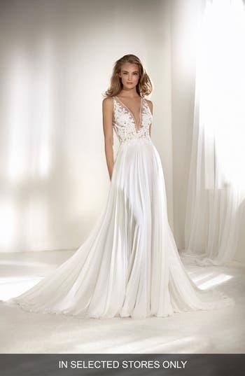 Atelier Pronovias Riado Plunging Lace & Chiffon A-Line Gown, Size - Ivory