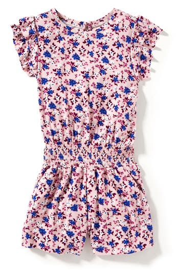 Girl's Peek Ollie Floral Print Romper, Size S (4-5) - Pink