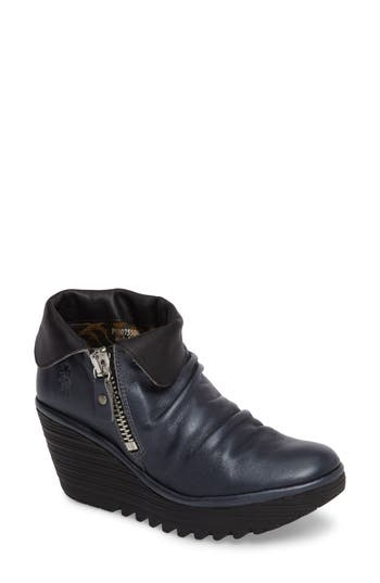 Fly London Yoxi Wedge Bootie, Blue