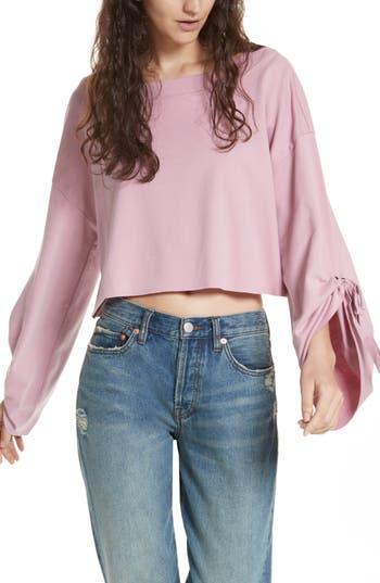 Women's Free People Holala Statement Sleeve Crop Sweatshirt