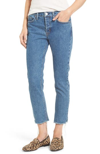 Hudson Jeans Riley Crop Relaxed Straight Leg Jeans, Blue