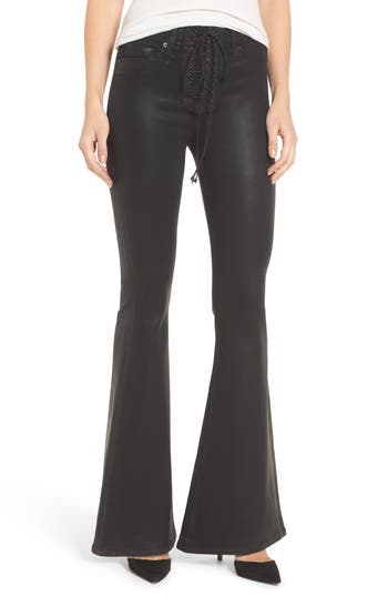 Hudson Jeans Bullocks High Waist Lace-Up Flare Jeans, Black