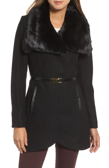 French Connection Faux Fur Collar Wool Blend Coat