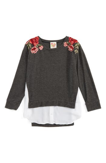 Girl's Kiddo Embroided Layered Pullover