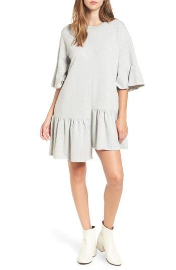 Bp. Asymmetrical Flounce Hem Sweatshirt Dress, Grey
