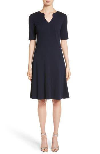 St. John Collection Milano Knit A-Line Dress, Blue