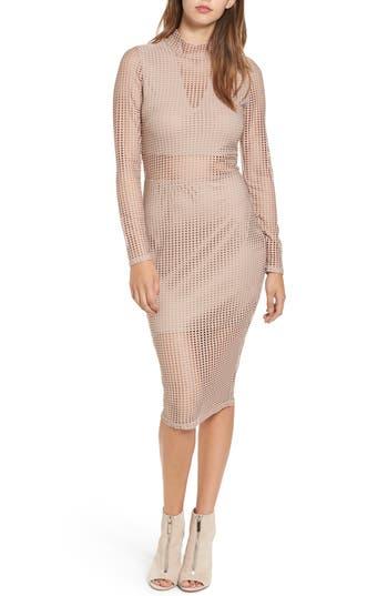 Love, Fire Laser Cut Body-Con Dress, Pink