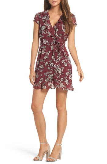 Women's Bardot Floral Flip Faux Wrap Dress, Size X-Small - Red