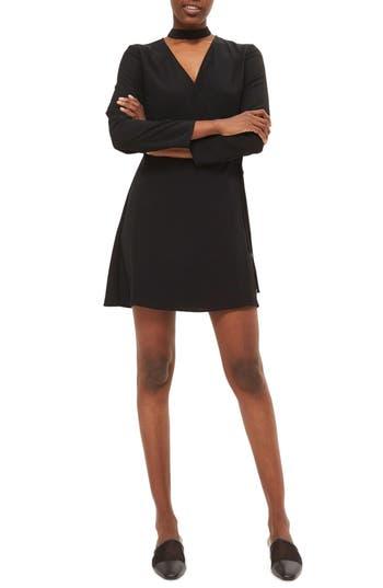 Topshop Choker Collar Wrapped Minidress, US (fits like 0) - Black