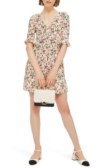 Topshop Iris Floral Mini Skater Dress, US (fits like 0) - Ivory