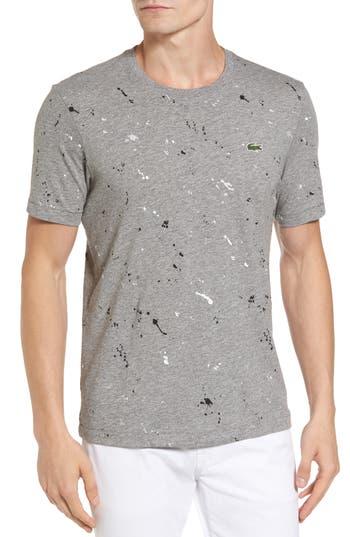 Lacoste L!ve Splatter Print Graphic T-Shirt, Grey
