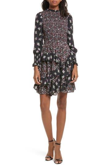 Rebecca Taylor Mixed Print A-Line Silk Dress, Black