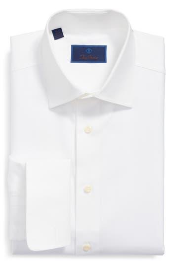 David Donahue Regular Fit Texture French Cuff Dress Shirt