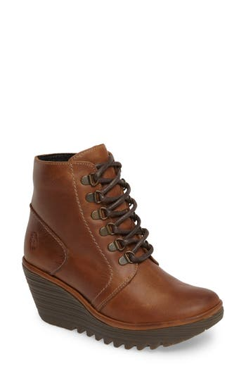 Fly London Yarn Lace-Up Wedge Boot - Brown