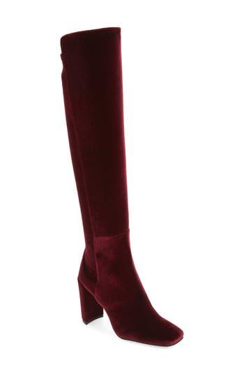 Stuart Weitzman Jackson Stretch Velvet Knee High Boot, Burgundy