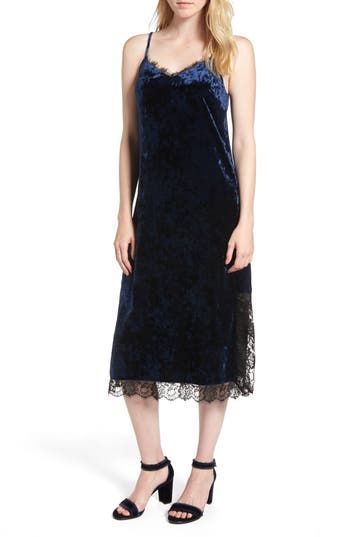 Chelsea28 Lace Trim Velvet Slipdress, Blue
