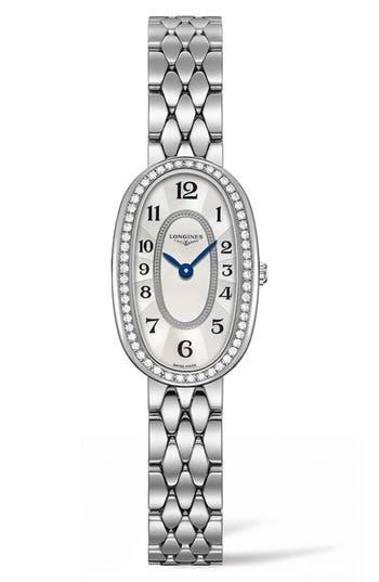 Women's Longines Symphonette Diamond Bracelet Watch, 18.9Mm X 29.4Mm
