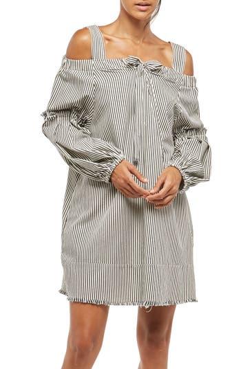 Women's Alpha & Omega Stripe Off The Shoulder Dress