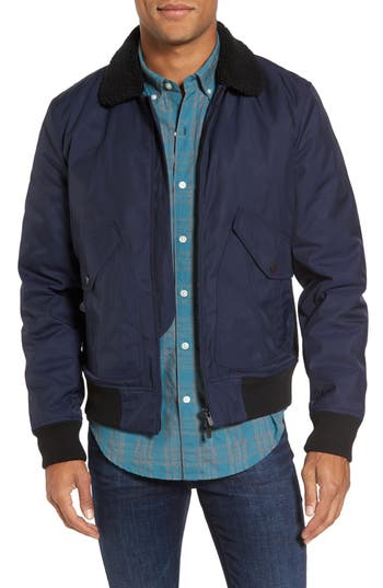 Men's Bonobos Faux Shearling Trim Bomber Jacket, Size Small - Blue