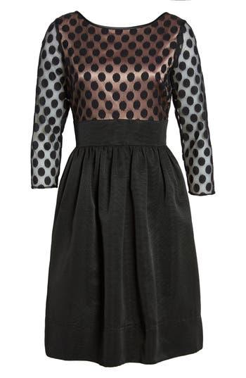 Eliza J Dot Mesh Bodice Fit & Flare Dress