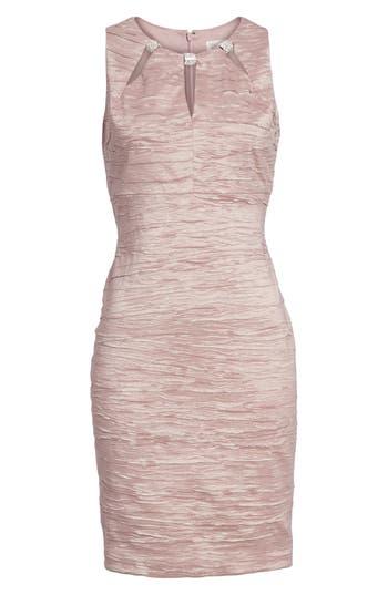 Eliza J Embellished Cutout Taffeta Sheath Dress, Pink