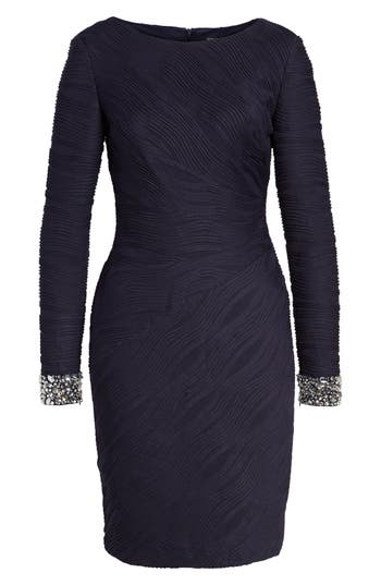 Eliza J Beaded Cuffs Knit Sheath Dress
