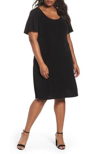 plus size women's vikki vi t-shirt dress, size 3x - black