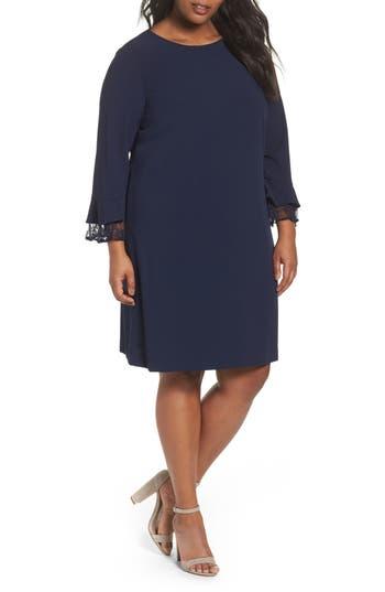 Plus Size Women's Tahari Lace Trim Shift Dress, Size 14W - Blue