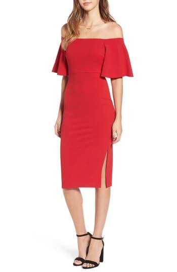Soprano Off The Shoulder Ponte Body-Con Dress, Red