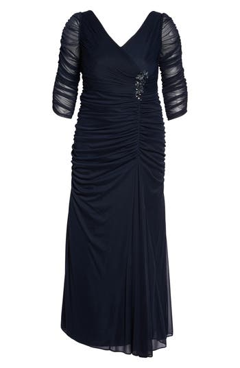 Plus Size Adrianna Papell Beaded Mesh Gown
