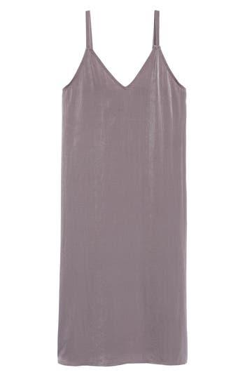 Women's Everly Satin Midi Slipdress, Size Small - Grey
