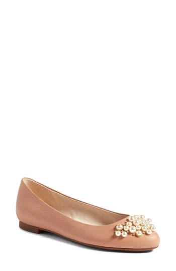Louise Et Cie Arella Imitation Pearl Embellished Flat- Beige
