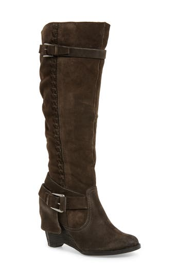 Naugty Monkey Double Up Knee-High Wedge Boot- Grey