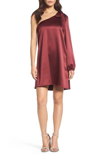 Nsr One-Sleeve Shift Dress, Burgundy