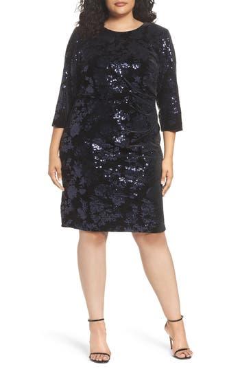 Plus Size Eliza J Sequin Velvet Sheath Dress, Black