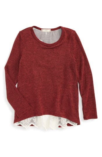Girl's Soprano Lace Back Sweater, Size S (7-8) - Burgundy