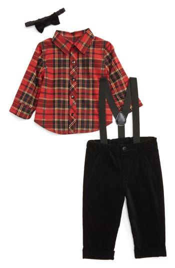 Infant Boy's Little Brother By Pippa & Julie Plaid Shirt & Pants Set