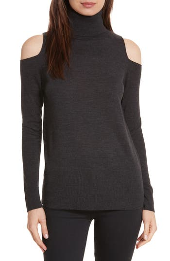 Allude Merino Wool Cold Shoulder Turtleneck Sweater, Grey