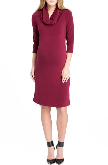 Lilac Clothing Cowl Neck Maternity Dress, Burgundy