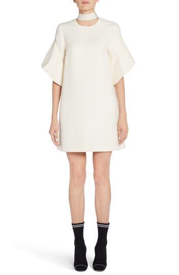 Fendi Wool & Silk Gazar Shift Dress, 50 IT - White