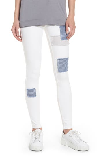 Women's Hue Patched Denim Leggings, Size X-Small - White