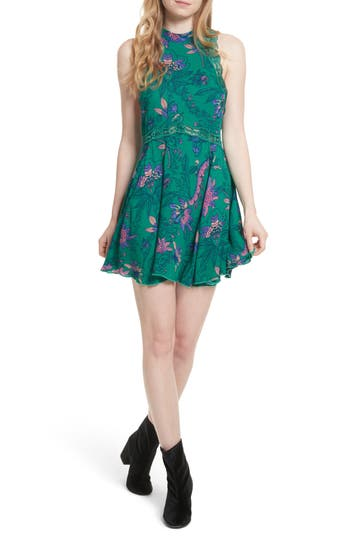 Women's Free People She Moves Minidress, Size X-Small - Green