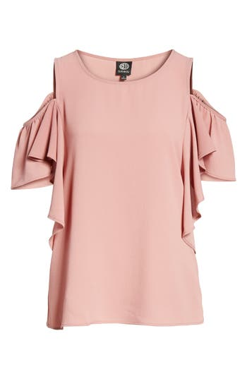 Women's Bobeau Cold Shoulder Ruffle Sleeve Top, Size Small - Pink