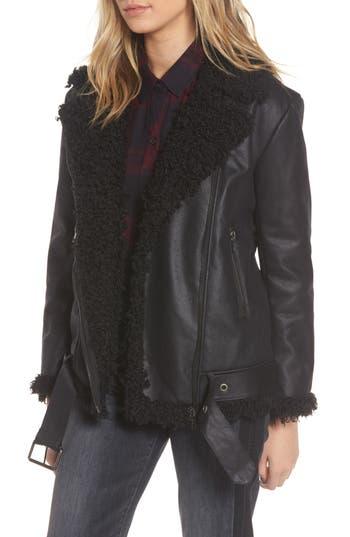Women's Bb Dakota Bosworth Faux Shearling Jacket, Size X-Small - Black