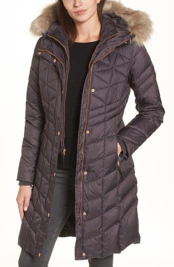 Andrew Marc Meadow Down & Feather Fill Coat With Faux Fur Trim, Grey