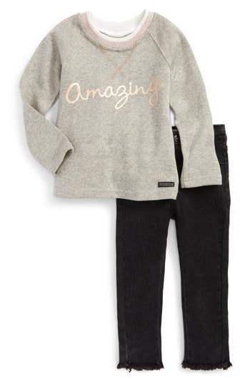 Toddler Girl's Hudson Kids Amazing French Terry Sweatshirt & Jeans Set