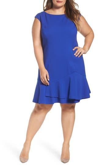 Plus Size Vince Camuto Drop Waist Dress, Blue