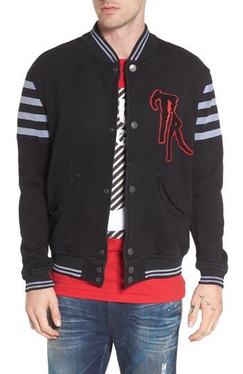 True Religion Brand Jeans Collegiate Knit Inset Jacket, Black
