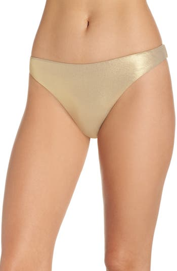 Trina Turk Golden Medallion Bikini Bottoms, Metallic